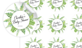 Leaves Baby Shower Personalised 65mm Labels