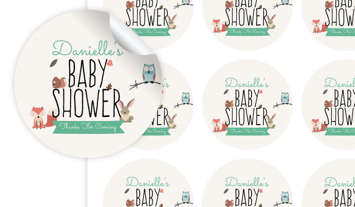 Little Critters Baby Shower Personalised 65mm Labels
