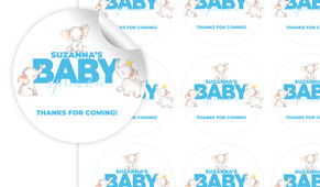 Curious Elephants Baby Shower Personalised 65mm Labels