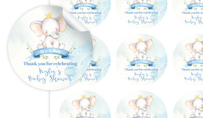 Sitting Elephants Baby Shower Personalised 65mm Labels