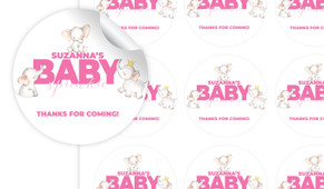 Curious Elephants Pink Baby Shower Personalised 65mm Labels