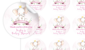 Sitting Elephant Pink Baby Shower Personalised 65mm Labels