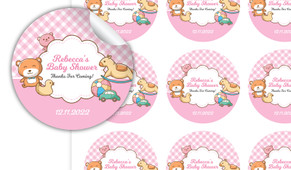 Baby Toys In Pink Baby Shower Personalised 65mm Labels