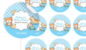 Baby Toys In Blue Baby Shower Personalised 65mm Labels