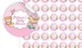 Baby Toys In Pink Baby Shower Personalised 25mm Labels