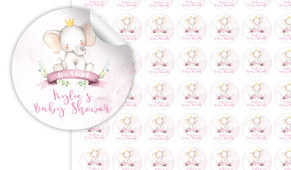 Sitting Elephant Pink Baby Shower Personalised 25mm Labels