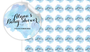 A Splash Of Watercolour On Blue Personalised 25mm Labels