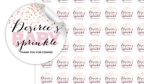 Sprinkle Confetti Baby Shower Personalised 25mm Labels