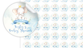 Sitting Elephant Blue Baby Shower Personalised 25mm Labels