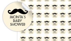 Moustache Of A Little Man Baby Shower  Personalised 25mm Labels