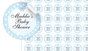Polkadot On Blue Baby Shower Personalised 25mm Labels