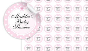Polkadot On Pink Baby Shower Personalised 25mm Labels