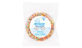 Pram In Blue Baby Shower Giant Chocolate Freckle