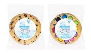 Pram In Blue Baby Shower Cookie