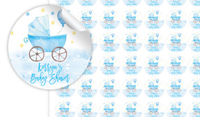 Pram On Blue Baby Shower Personalised 25mm Labels