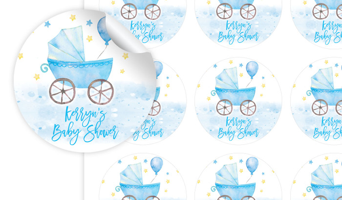 Pram On Blue Baby Shower Personalised 65mm Labels