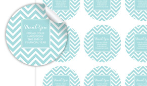 Chevron Thank You Personalised 65mm Labels