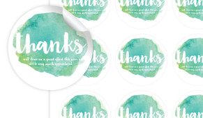 Watercolour Green Thanks Personalised 65mm Labels