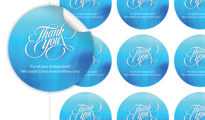 Cursive Thank You Personalised 65mm Labels
