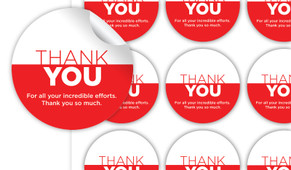 Contemporary Thank You Personalised 65mm Labels
