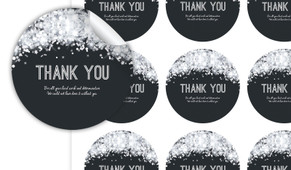Confetti In Silver Thank You Personalised 65mm Labels
