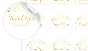 Gold Confetti Thank You Personalised 65mm Labels