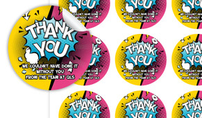Fun Starburst Thank You Personalised 65mm Labels