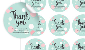Dots Thank You Personalised 65mm Labels