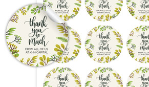 Floral Thank You Personalised 65mm Labels