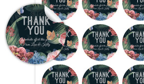 Floral Border On Black Thank You Personalised 65mm Labels