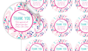Fresh Floral Thank You Personalised 65mm Labels