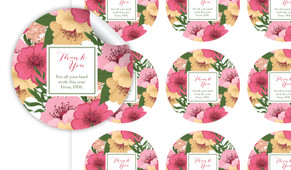 Spring Flowers Thank You Personalised 65mm Labels