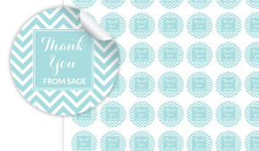 Chevron Thank You Personalised 25mm Labels