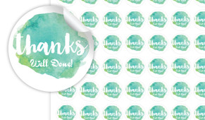 Watercolour Green Thank You Personalised 25mm Labels