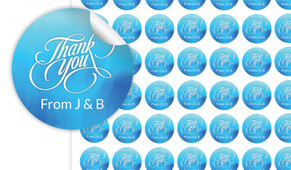 Cursive Thank You Personalised 25mm Labels