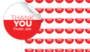 Contemporary Thank You Personalised 25mm Labels