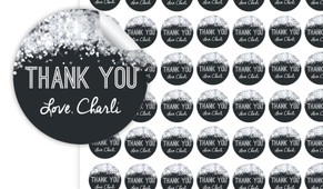 Confetti In Silver Thank You Personalised 25mm Labels