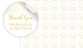 Gold Confetti Thank You Personalised 25mm Labels