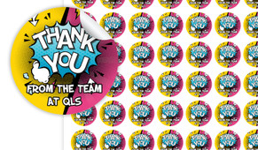 Fun Starburst Thank You Personalised 25mm Labels