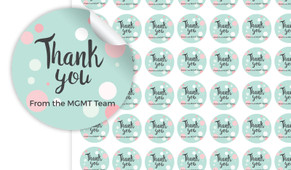 Dots Thank You Personalised 25mm Labels