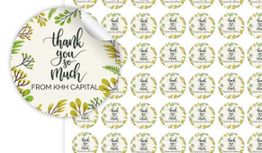 Floral Thank You Personalised 25mm Labels