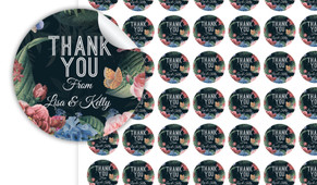 Floral Border On Black Thank You Personalised 25mm Labels