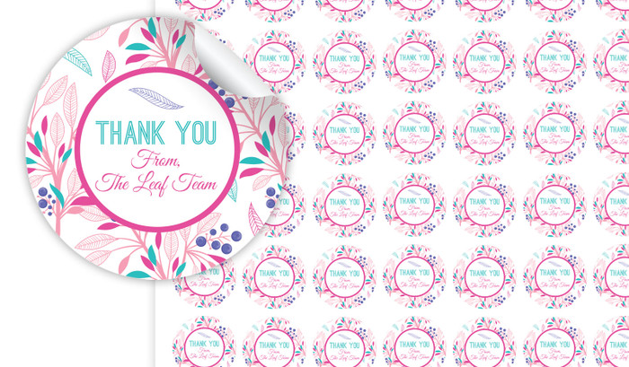 Fresh Floral Thank You Personalised 25mm Labels