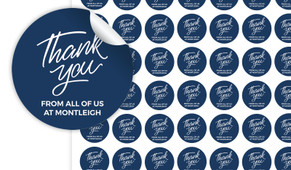 Navy Blue Thank You Personalised 25mm Labels