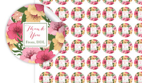 Spring Flowers Thank You Personalised 25mm Labels