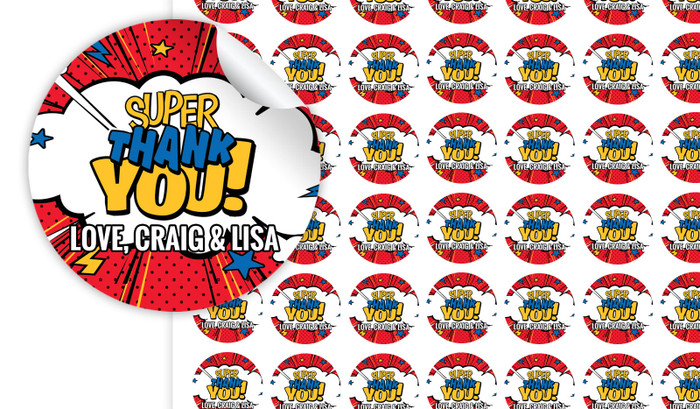 Super Thank You Personalised 25mm Labels