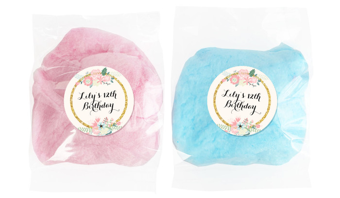 Spring Florals Personalised Bags Of Fairy Floss