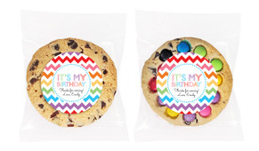 Chevron Rainbow Personalised Birthday Cookie