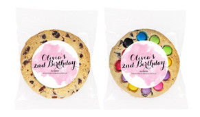 A Splash Of Watercolour Pink Personalised Birthday Cookie