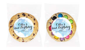 A Splash Of Watercolour In Blue Personalised Birthday Cookie